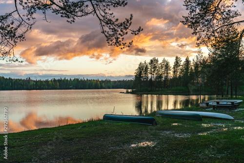 Sunset by the lakeside in Koli National Park, Lakeland, Finland Fototapeta