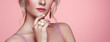 canvas print picture - Beauty Woman with perfect Makeup and Manicure. Glamour Girl with Jewelry. Pink Lips and Nails. Precious Stones and Silver. Beauty girls Face isolated on light Background. Fashion photo