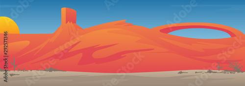 Photo Beautiful Desert Valley Landscape Scene Vector Illustration