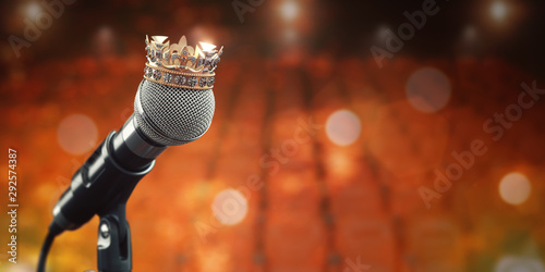Wall Murals Equestrian Microphone and king crown. Music award, concert of best singer, king of pop rock music concept background.