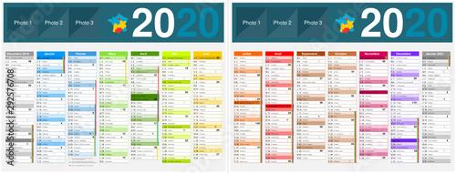 Fotografiet Calendrier 2020 14 mois avec vacances scolaires officielles au format 320 x 420