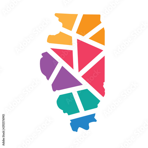 colorful geometric Illinois map- vector illustration Poster Mural XXL