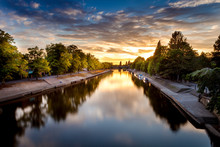 Sunset In York City Centre Looking Upstream Of The River Ouse