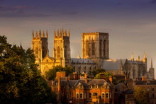 York Minster At Sunset Capturing The Last Rays Of Daylight