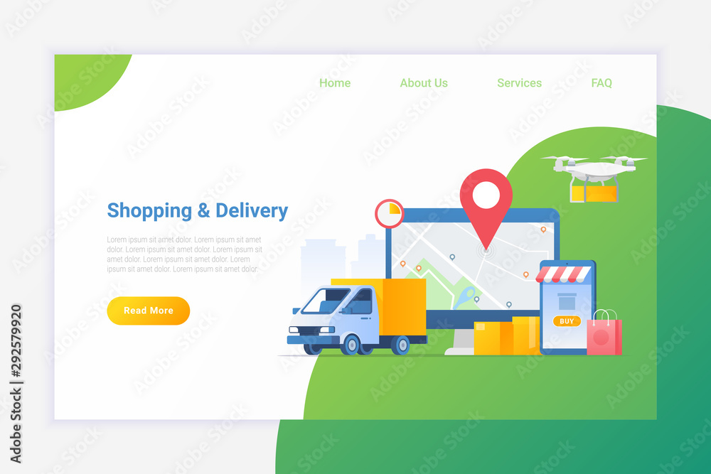 Fototapeta Online shopping with delivery services Flat vector illustration. Deliver package by Van or Drone.