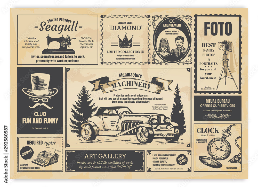 Fototapeta Vintage newspaper advertising. Newsprint labels with retro fonts, frames and old illustrations. Vector realistic background press advertising with announcements for fashion design work
