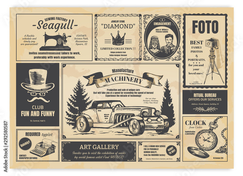 Foto auf AluDibond Retro Vintage newspaper advertising. Newsprint labels with retro fonts, frames and old illustrations. Vector realistic background press advertising with announcements for fashion design work