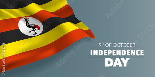 Uganda independence day greeting card, banner with template text vector illustra Canvas Print