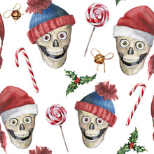 Watercolor Christmas Seamless Pattern With Skulls And Lollipops. Hand Painted Holiday Illustration With Hats, Bells Isolated On White Background. Winter Pattern For Design, Print Or Background.