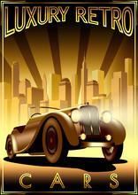 Luxury Retro Car Motor Shop Vintage Poster.