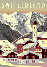 Switzerland Travel Poster With...