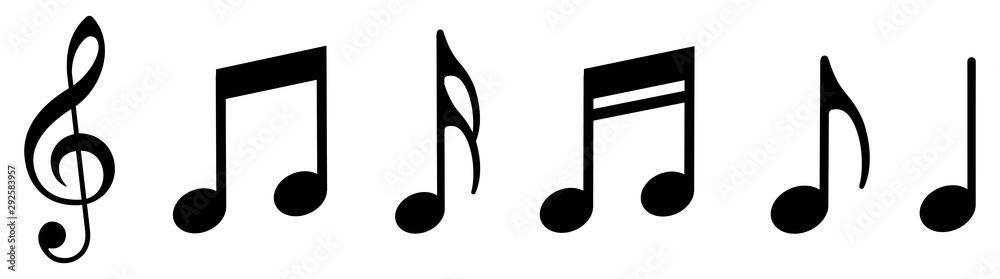Fototapety, obrazy: Music notes icons set. Vector illustration