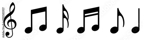 Music notes icons set. Vector illustration - 292583957