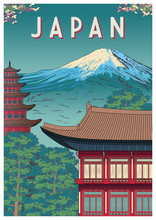 Japan Travel Poster With Templ...