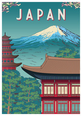 Japan Travel Poster with Temple in the first plan and mountain in the background.