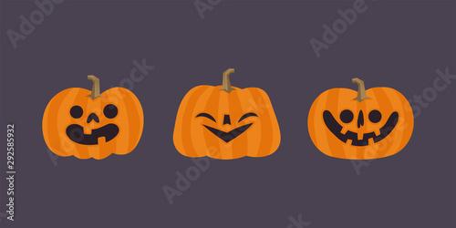 Spoed Fotobehang Halloween Set of cute halloween pumpkins with funny faces. Vector illustration.