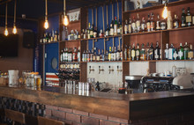 Cozy Image Of Empty Wooden Bar...