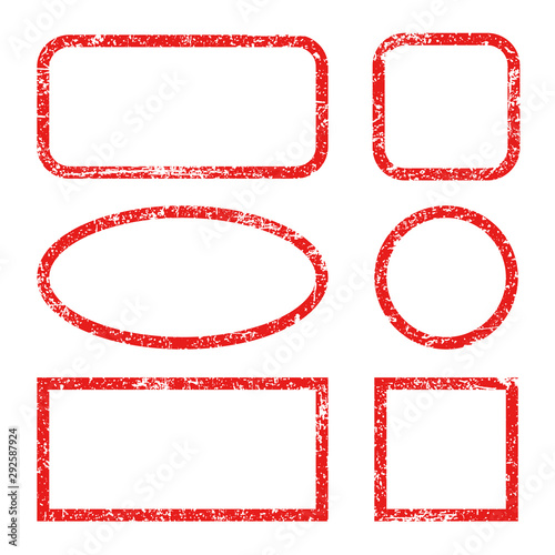 Fotomural Set red frames of rubber stamp icons, grunge scratching post stamp templates iso