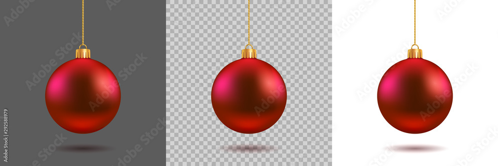 Fototapeta Red Christmas ball on gray, transparent and white background. New year toy decoration - stock vector