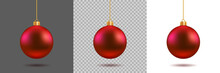 Red Christmas Ball On Gray, Tr...