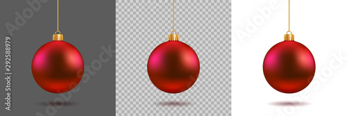 Obraz Red Christmas ball on gray, transparent and white background. New year toy decoration - stock vector - fototapety do salonu