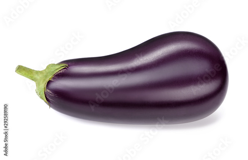 single ripe eggplant isolated on white background Wallpaper Mural