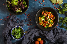 Fresh Salad With Tomato, Cucumber And Herbs, Flat Lay From Above