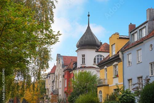 Bunte Häuserfronten im Stadtteil München Nymphenburg Wallpaper Mural