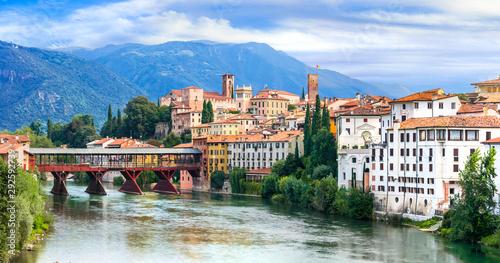 Beautiful medieval towns of Italy -picturesque Bassano del Grappa in Veneto region