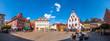 canvas print picture - Panorama, Marktplatz mit historischem Rathaus, Karlstadt am Main, Deutschland