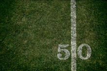 American Football 50 Yard Line Football Field And Game