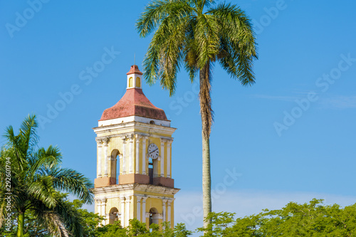 Bell tower of the Catholic church, Remedios, Villa Clara, Cuba Slika na platnu