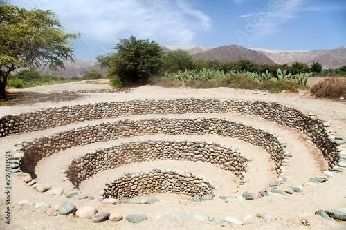 Obraz na plátne Cantalloc Aqueduct in Nazca, spiral or circle aqueducts