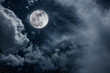 Leinwanddruck Bild - Night sky with bright full moon and cloudy, serenity nature background.