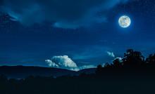 Landscape Of Blue Night Sky Wi...