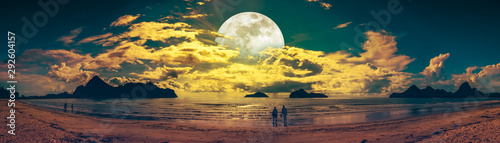 Beautiful panorama view of the sea. Colorful blue sky with cloud and bright full moon on seascape to night. Serenity nature background, outdoor at nighttime.