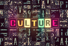 The Word Culture As Neon Glowi...