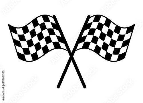 Fotografía  Checkered or chequered flag for car racing flat vector icon for sports apps and