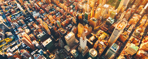 Fototapeta Aerial view of Manhattan New York from Midtown