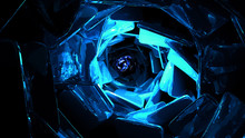 Dark Alien Cave Blue Light Fra...