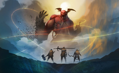 Digital illustration painting design style group of warriors encounter red demon from hell, against the moon with midnight, trying arrest them by magic spells.
