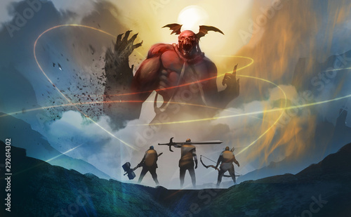 Digital illustration painting design style group of warriors encounter red demon from hell, against the moon with midnight, trying arrest them by magic spells Canvas Print