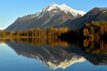Fall colors at Reflections Lake, Alaska