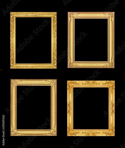 Fototapeta The antique gold frame on black background with clipping path obraz na płótnie