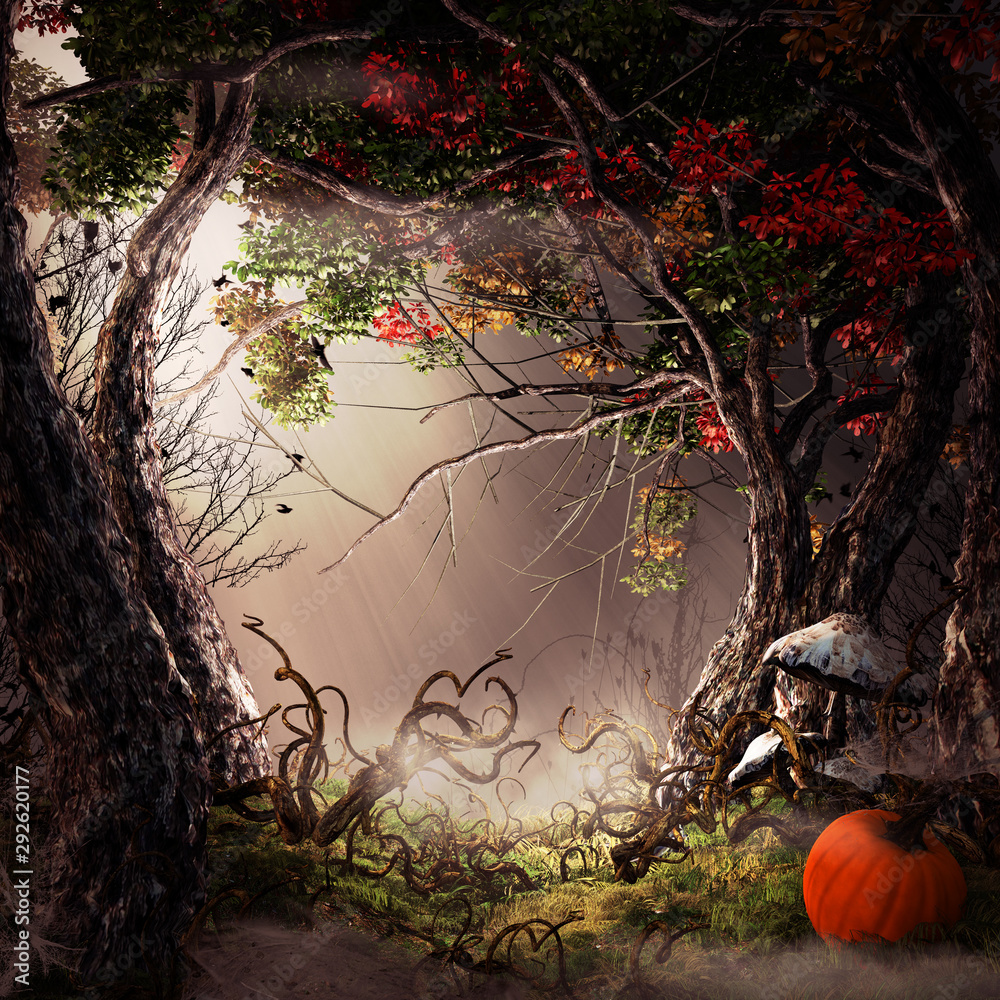 Fototapeta Autumn forest with pumpkin and mushrooms