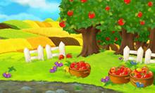 Cartoon Scene With Apple Garde...