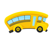 Yellow School Bus With Curved ...