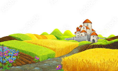 Cartoon scene with farm fields with medieval castle and white background for text - illustration for children