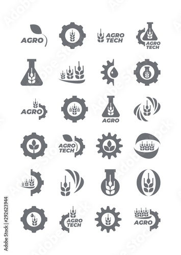 Set of agro and bio icons template for logo Wallpaper Mural