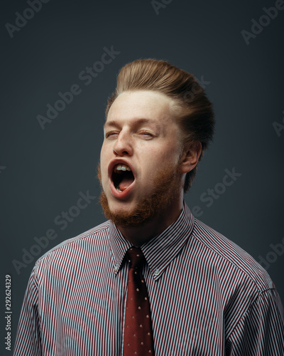 Strong wind blowing in male face, funny emotion Canvas Print
